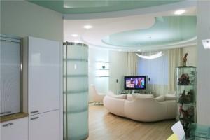 многоуровневые натяжные потолки, также применяются